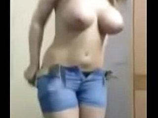 Sexy girl takes off bra