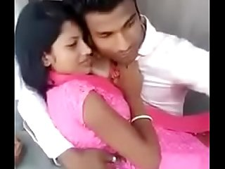 Desi cute village girl'_s boob press and kissing by lover outside