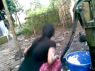 Bangladeshi Deshi Girl Bathing Outdoor And Recording Amateur Cam